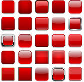 Set of blank red square buttons for website or app Vector eps10