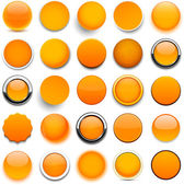 Set of blank orange round buttons for website or app Vector eps10