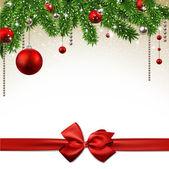 Vánoční pozadí s větvemi jedlí a koule