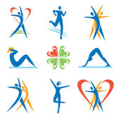 Icons with fitness and healthy lifestyle activities Vector illustration