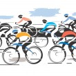 Постер, плакат: Cycle race peleton