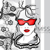 Beautiful fashion woman in glasses - vector illustration