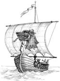 Langes Boot Drakkar Skizze