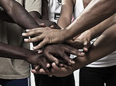 Hands together in union