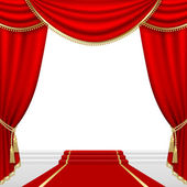 Theater stage with red curtain Clipping Mask Mesh