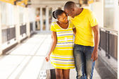 Afro american couple in shopping mall