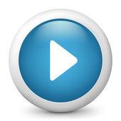 Vektorové modré lesklé ikona zobrazující tlačítko play