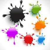 Colorful paint splashes vector set 4