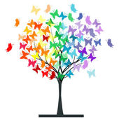 Pillangók szivárvány fa