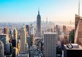 Manhattan a kilátás a tetején a szikla. Empire state building és alsó-manhattan. New york city