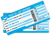 Two boarding passes Blue flight coupons