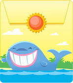 Illustration made in the form of a pocket with a button The figure show a funny blue whale in the sea Illustration done in cartoon style on separate layers