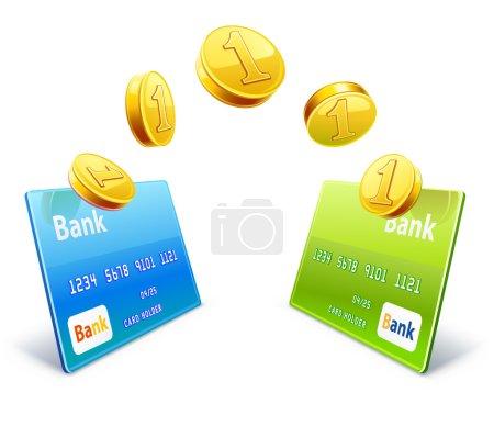 Постер, плакат: Money transfer from card to card, холст на подрамнике