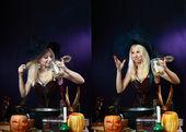 Blond witch on magic kitchen