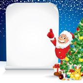 Babbo Natale con regali di Natale e augurando elenco