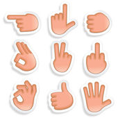 Paper Stickers with Hand Signs Vector Icon Set 2
