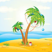 Tropical Beach Christmas Vector Illustration