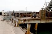 15. April Odessa: alte Fluss Handel Hafen Ust-Donau. Liegeplatz-pont