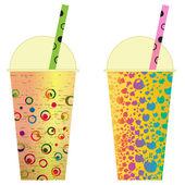 Various Bubble Tea in a row clip art