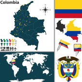 Vector map of Colombia with regions coat of arms and location on world map