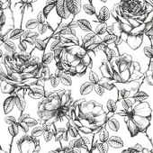 Floral seamless pattern with hand drawn roses