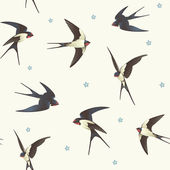 Seamless background with swallows Pattern with a flock of birds