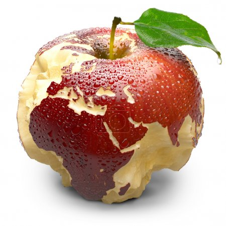 Постер, плакат: Apple with carved continents Europe and Africa, холст на подрамнике
