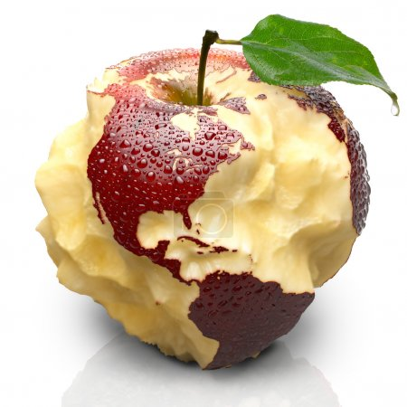 Постер, плакат: Apple with carved continents North and South America, холст на подрамнике