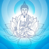 Buddha in meditation with hands and flower jug on blue background
