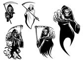 Death skeleton characters with and without scythe  suitable for Halloween and tattoo design