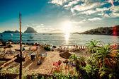 Blick auf den Strand von Cala d  Hort auf ibiza