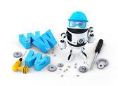 Robot s www znamení. webové stránky stavební nebo opravy koncepce