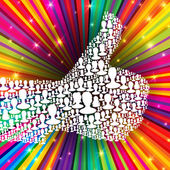 Thumb up symbol on colorful rays background Composed from many silhouettes Vector illustration EPS10