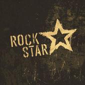 Rocková hvězda grunge ikona. s texturou, mořený vektorové