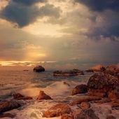 Seascape at sunrise time