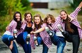Skupina evropských stepaři Jang provést venkovní