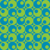 Vector seamless pattern of retro circles and squares in blue and green