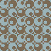 Vector seamless pattern of retro circles and squares in blue and brown