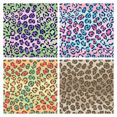 Seamless leopard print pattern in four fashion colorways