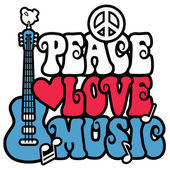 Retro-style design of the words Peace Love Music with a peace symbol guitar dove heart and musical notes in red white and blue Type style is my own design