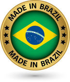 Made in Brazil gold label vector illustration