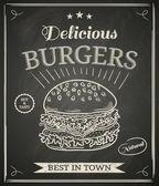 Manifesto di casa hamburger sulla lavagna