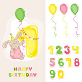 Baby Bunny Birthday Card - with Editable Numbers - invitation congratulation -  in vector