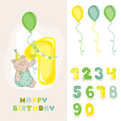 Baby Bear Birthday Card - with Editable Numbers - invitation congratulation -  in vector
