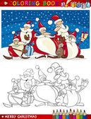 Colorare libro o pagina illustrazione fumetto di clausole santa temi di Natale per bambini