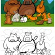 Постер, плакат: Forest wild animals cartoon for coloring book