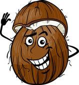 Cartoon Illustration of Funny Coconut Fruit Food Comic Character