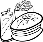 Black and White Cartoon Illustration of Fast Food Set with Hamburger and French Fries and Soda Clip Art for Coloring Book