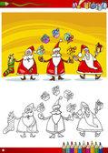 Colorare libro o pagina illustrazione fumetto di temi, set con gruppo di Babbo Natale con regali di Natale e decorazioni per bambini
