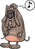 Cartoon Illustration of Funny Singing Dog Character
